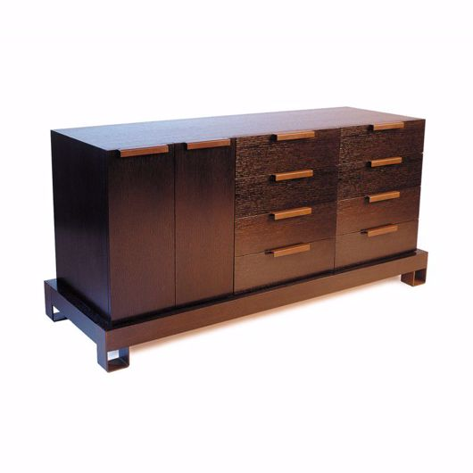 Picture of DR-76B DRESSER BUFFET WITH TWO BANKS OF 4 DRAWERS EACH AND ONE CUPBOARD (WITH FINISHED BACK)