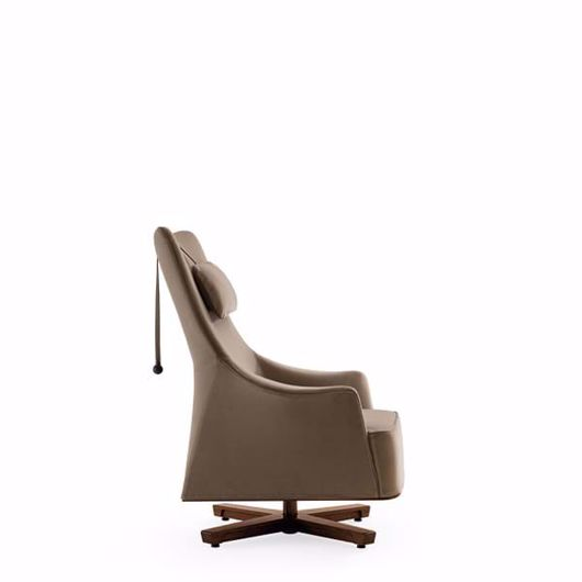 Picture of MOBIUS 2014 SWIVEL WING CHAIR WITH HEAD REST, FABRIC OR LEATHER UPHOLSTERY WITH LEATHER PIPING