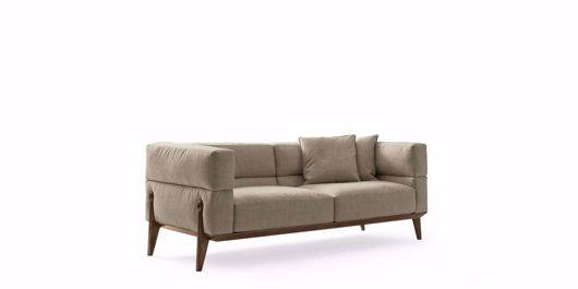 Picture of AGO ARMCHAIR BASE IN WALNUT CANALETTO FABRIC OR LEATHER UPHOLSTERY