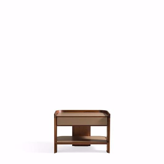 Picture of ARCHIBALD BEDSIDE CABINET IN WALNUT CANALETTO SADDLE LEATHER UPHOLSTERY