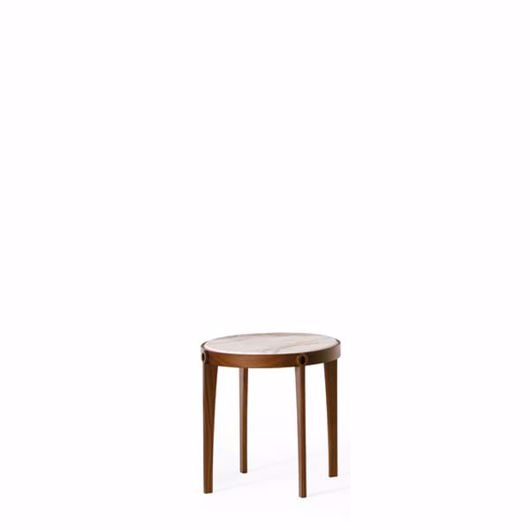 Picture of AGO ROUND COFFEE TABLE BASE IN WALNUT CANALETTO, MARBLE TOP
