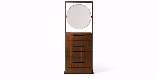 Picture of YANG CHEST OF DRAWERS IN WALNUT CANALETTO WITH MIRROR